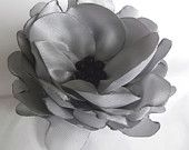 Gray   satin  handmade brooch with black  pearls.
