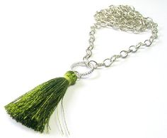 Pendant Necklaces Olive Green Indian Silk Tassel by SwankyJewels