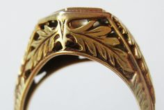 Vintage Wedding Ring Art Deco 14k Gold Filigree by SoCalJewelBox