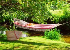 vintage style hammock by a river Decorative Country Living