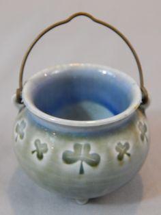 Vintage Wade Miniature Handled Pot, Toothpick Holder with Shamrocks, Wade Porcelain, Made in Ireland by SlyfieldandSime on Etsy