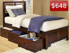 Under-bed storage uses unused space and gives kids easy access to their toys.