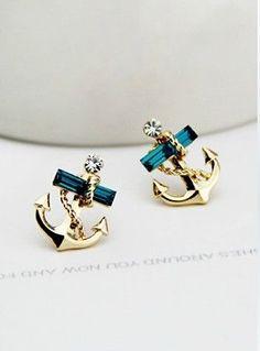 Gold emerald and diamond Studded Anchor Earring Studs Cute Jewelry, Jewelry Box, Jewelry Accessories, Fashion Accessories, Jewlery, Anchor Earrings, Cute Earrings, Gold Earrings, Sapphire Earrings