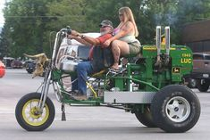 I'd rather have this made from a Furgesson or something better than a deere (trust me, a deere is NOT the best tractor) John Deere Tricycle with a milk-surge gas tank and a cowbell