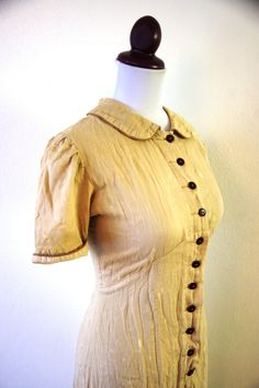 Vintage 1930s Bonnie and Clyde Brown Striped by RetroKittenVintage, $42.00