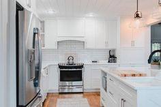 shaker style cabinets with shiplap ceiling