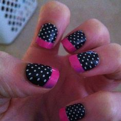 I don't know that I'd do the pink tips but I adore the polka dots.