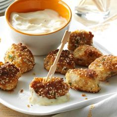 Sesame Chicken Bites Recipe -These bites have been a party favorite at our house for many years. You can make the sauce the night before to make day-of prep even easier. —Kathy Green, Layton, New Jersey One Bite Appetizers, Chicken Appetizers, Appetizers For Party, Appetizer Recipes, Chicken Recipes, Party Snacks, Chicken Meals, Holiday Snacks, Christmas Appetizers