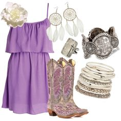 """Purple Cross"" by rinergirl on polyvor. Love the boots Country Girl Style, Country Fashion, Country Outfits, My Style, Country Bumpkin, Country Dresses, Country Chic, Cute Dresses, Cute Outfits"
