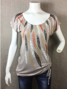 Camiseta BLANCO T-SHIRTS marrón estampada TALLA S