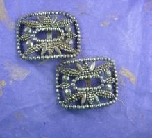 French Buckles * Cut steel made in France * Marcasite floral design * antique silver shoe accessory * Victorian Reenactment