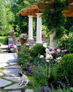 Peony, slate walkway, bluestone, patio