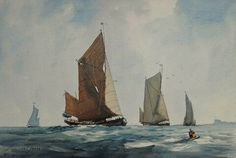 Thames sailing barges race painting by Lionel Jeans