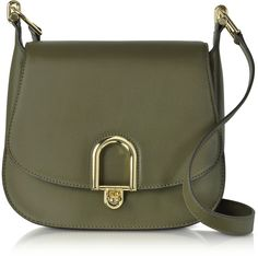 17967b60aa8d Michael Kors Delfina Large Olive Green Leather Saddle Bag