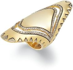 House Of Harlow Two Tone Pave Knuckle Ring
