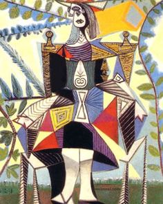 Pablo Picasso Femme assise dans un jardin (Woman seated in a garden), 1938 Oil on canvas 51 ½ x 38 ¼ in. x cm) Wexner Family Collection © 2014 Estate of Pablo Picasso / Artists Rights. Pablo Picasso, Kunst Picasso, Art Picasso, Picasso Paintings, Picasso Collage, Collage Art, Georges Braque, Henri Matisse, Most Expensive Painting