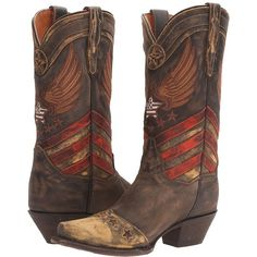 Dan Post N'dependence (Brown/Multi) Cowboy Boots ($290) ❤ liked on Polyvore featuring shoes, boots, mid-calf boots, embroidered caps, brown cowgirl boots, dan post boots, cut out boots and brown boots