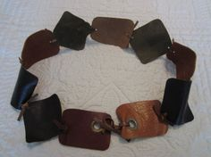 Forest & Camel Leather BELT with Grommets by BecomingDesigns