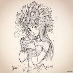 10.02.2015   redisoj, рисунок, девушки, рисунок карандашом, эскиз, Природа, кофе, чай