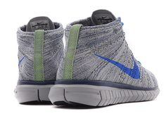 #Nike Free Flyknit Chukka - Wolf Grey/Photo Blue/Electric Green #sneakers