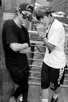 Suga (sup) + Jimin (I'm just gonna lean here and look sexy and cute and make you fangirl with my looks because I can and there is nothing you can do about it)