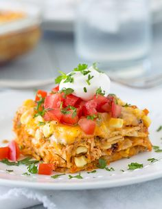 Mexican Lasagna - this turned out great!  I used ground beef instead of chicken and I did not add cayenne pepper, but did mix in some pepper jack cheese.