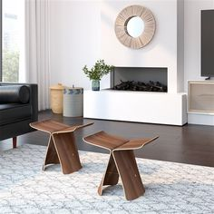 Yanagi Bentwood Butterfly Stool - The Yanagi Bentwood Butterfly Stool is truly one of a kind. Simple lines give this stool a clean, minimalist look as its sculptural . Living Room Furniture, Modern Furniture, Small Living Rooms, All Modern, Side Chairs, Room Decor, Interior Design, Stool, Butterfly