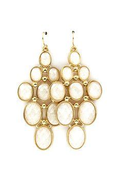 Ivory Shimmer Chandelier Earrings- $42.00