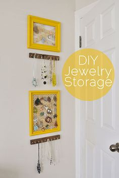 DIY jewelry storage with picture frames and distressed wood boards with hooks
