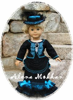 "OOAK Victorian Era 6 PS Gown - Black Turquoise - 18"" American Girl Doll clothing"