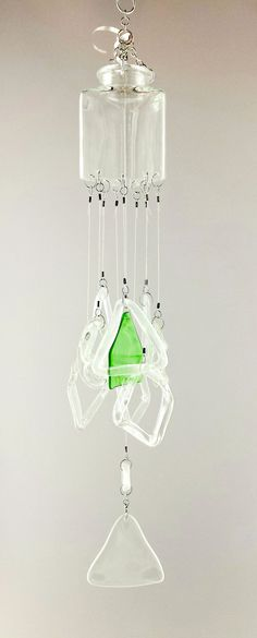 """""""Triangle Triad"""" Up-cycled Glass Bottle Chime"""