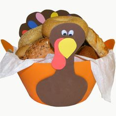Add some cheer to your Thanksgiving table with this colorful turkey breadbasket. Easy to make with an inexpensive party bucket from Sunshine Discount Crafts and a little craft foam. Click for the free instructions and pattern.