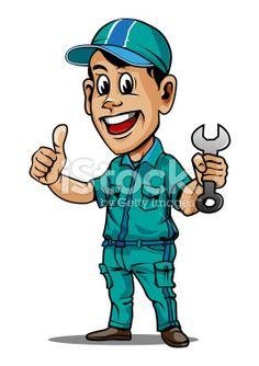 Mascot for Auto Service Center Royalty Free Stock Vector Art Illustration