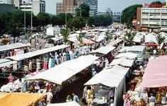Nederland, Enschede, markt op het Van Heekplein, jaren 80