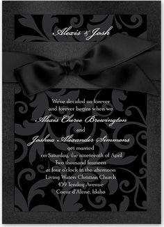 An all black wedding invitation is so glamorous for a black tie affair.