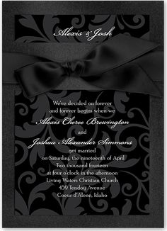 An all black wedding invitation is so glamorous for a black tie affair.