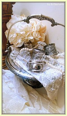 Ivy and Elephants: Sparkle and Shine -- lovely silver napkin rings and crystal knife holders