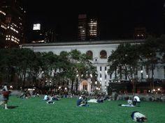 Bryant Park at nighttime, nice little park