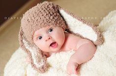 12 to 24m Baby Easter Bunny Hat Baby Beanie Animal Hat by BabaMoon