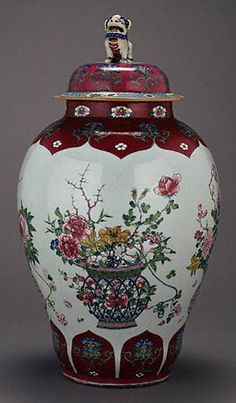 Pair of Lidded Vases (Getty Museum) Unknown Chinese, Yongzheng period, about 1730 Hard-paste porcelain, polychrome enamel decoration