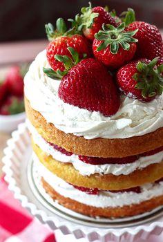 Strawberry Shortcake Layer Cake by Erica Sweet Tooth Mini Cakes, Cupcake Cakes, Cupcakes, Baking Recipes, Dessert Recipes, Cupcake Recipes, Strawberry Brownies, Strawberry Desserts, Strawberry Cheesecake