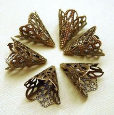 Antique Bronze Plated Filigree Bead Cone Caps--20mm