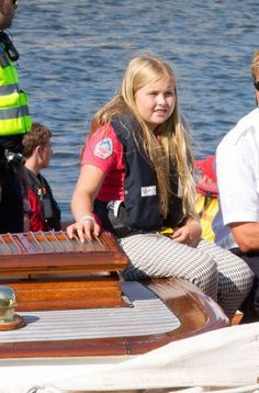 Princess Catharina-Amalia enjoying he last days of summer on board her grandmother's boat the other day.