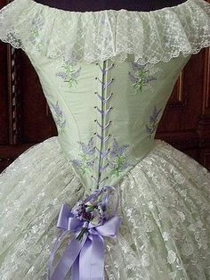 Biedermeier Crinoline Embroidered Ball Gown c. 1865, Back