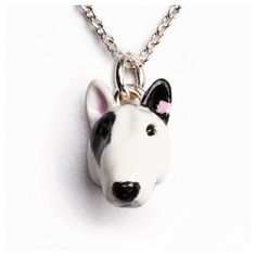 Dog Fever Enamel Bull Terrier Silver Pendant Necklace ($200) ❤ liked on Polyvore featuring jewelry, necklaces, chain link necklaces, silver necklace, heart necklace, dog jewelry and dog necklace