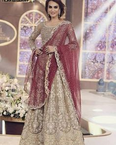 Lehenga Choli-oro y marrón, réplica de Maria B Bridal, 3 Pc cosido-indio, paquistaní, Bollywood boda Formal