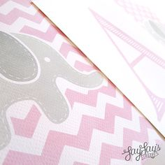 For the Baby Nursery - Elephant chevron and polka dot prints with middle monogram initial! So cute #babynursery #nursery