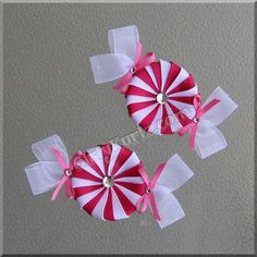 Hot Pink Peppermint Candy Ribbon Sculpture Hair Clip by GirlyKurlz, $12.50