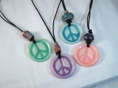Peace symbol pendants handmade from cold porcelain clay, in assorted colors - a new festival favorite!