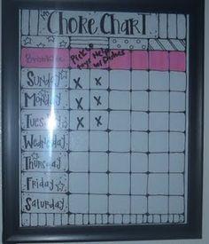 Chore board - Easy to wipe!